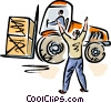 Vector Clipart graphic  of a giving directions to fork lift operator