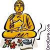 Vector Clipart picture  of a Buddha with flowers and