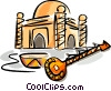 Vector Clipart graphic  of a mosque with sitar