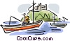 Vector Clip Art graphic  of a Man fishing in boat