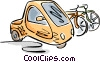 Vector Clipart graphic  of an an electric car and bicycles
