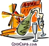 Vector Clip Art image  of a champagne and a windmill