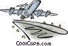 Vector Clip Art graphic  of an an airplane taking off