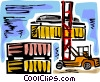 Vector Clip Art graphic  of a Fork Lifts