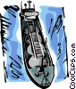 Vector Clipart image  of a Ships Carrying Cargo and