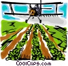 Airplane crop dusting Vector Clip Art picture