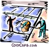 Workers at fish farm Vector Clip Art picture