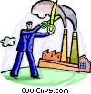 Businessman cutting pollution Vector Clip Art picture