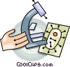 Vector Clip Art graphic  of a Microscope and slide