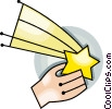 Vector Clip Art graphic  of a catch a shooting star