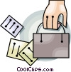 briefcase and documents Vector Clip Art picture