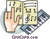 Vector Clipart graphic  of a Keyboard and music sheet