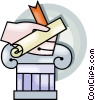 Vector Clip Art graphic  of a diploma on a pedestal