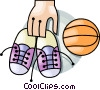 Running shoes and a basketball Vector Clipart image