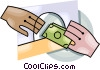 money exchanging hands Vector Clipart illustration