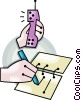 Vector Clip Art graphic  of a taking a phone message