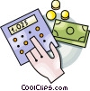 adding up money Vector Clipart illustration