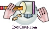 Vector Clip Art image  of a sharpening a pencil
