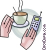 Vector Clip Art graphic  of a cup of coffee and a cellular