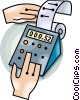 Vector Clip Art image  of an adding machine