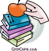 Vector Clipart image  of a school books and an apple