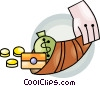 Vector Clip Art image  of a cornucopia of money