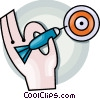 Vector Clipart graphic  of a Playing darts