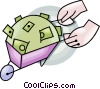 Vector Clip Art image  of a wheelbarrow full of money