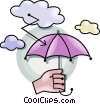 Vector Clip Art graphic  of a umbrella struck by lightening