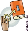 locked book Vector Clipart graphic
