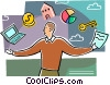 Vector Clipart picture  of a Juggling and Multitasking