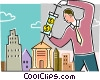 Man injecting funds into bank account Vector Clip Art graphic
