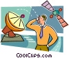Man with telecommunications satellite and dish Vector Clipart picture