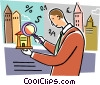 Man with financial magnifying glass Vector Clipart graphic