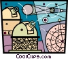 Telescopes and planets Vector Clipart illustration