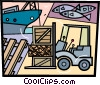 Vector Clip Art graphic  of a Commercial Fishing