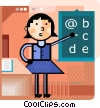 Teacher with blackboard Vector Clipart picture