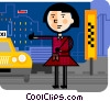 Vector Clip Art image  of a Taxis