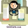 Man working at desk Vector Clipart picture