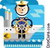 Captain navigating business finance Vector Clipart image