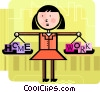 Woman balancing home and work Vector Clipart illustration