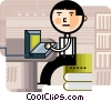 Businessman working on computer Vector Clipart picture