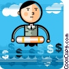 Businessman with life preserver in financial waters Vector Clipart image