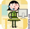 Vector Clipart illustration  of a Women On The Phone