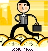 Businessman with clocks keeping schedule Vector Clip Art picture