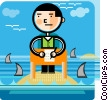 Businessman with shark infested waters Vector Clipart graphic