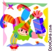 Clown with present Vector Clipart illustration