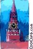 Russia Red Square Savior's Tower Moscow Vector Clipart picture