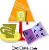 Vector Clip Art picture  of a desk lamp and coffee with a