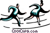 Running and Walking Vector Clipart image